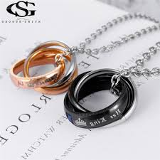 necklace brand names images Gs brand couple necklace 316l stainless steel king queen lettering jpg