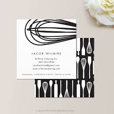 baker or catering chef square business card calling card