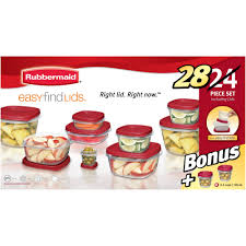 rubbermaid easy find lids food storage container set 24 piece
