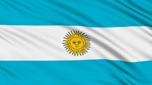 rippled textile flag of argentina with blue and white stripes and