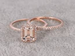morganite wedding set 2pcs emerald cut morganite wedding set eternity diamond