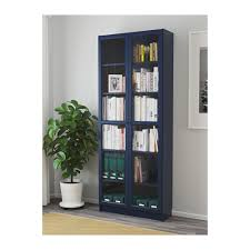 Grey Bookcase Ikea Billy Bookcase With Glass Doors Dark Blue Ikea
