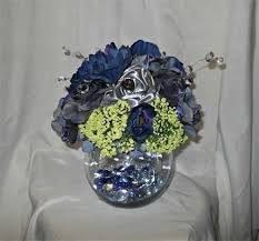 silver centerpieces custom made navy blue silver and green centerpiece by