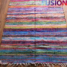 Multi Coloured Rug Uk 100 Cotton Handmade Multi Colour Chindi Rug Area Rag Rugs Flat