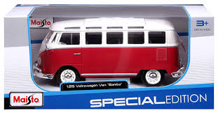 volkswagen van hippie amazon com maisto 1 25 scale volkswagen van samba red and white