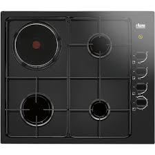 plaque de cuisine plaque de cuisson mixte 4 foyers noir faure fgm62444ba leroy