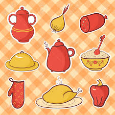 Retro Kitchen Sets by Retro Kitchen Set Food Cartoon Vector Elements Royalty Free