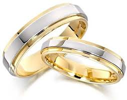 attractive 14k white and yellow gold couples wedding