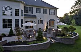 Building A Raised Patio Lovable Raised Stone Patio Ideas Paver Patios With Lighting Raised
