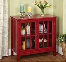 Double Glass Door by Amazon Com Cumberland Double Glass Door Cabinet Red Kitchen