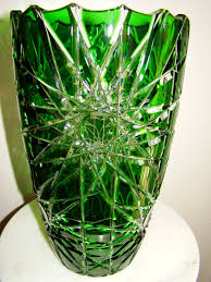 Antique Lead Crystal Vase Bohemian Czech Emerald Green Cut To Clear Cased Lead Crystal Vase