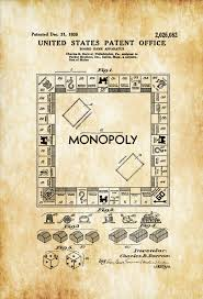 monopoly game patent patent print wall decor monopoly patent