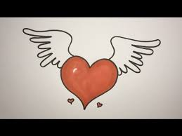 Hearts With Wings - how to draw a with wings by easy