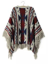 tribal sweater vintage tribal print fringed poncho sweater justfashionnow com