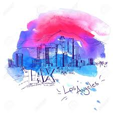 los angeles skyline watercolor style with text illustration