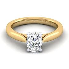 yellow gold oval engagement rings 14k yellow and white gold oval solitaire engagement ring