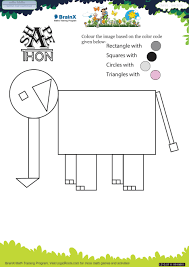 shapethon elephant math worksheet for grade 1 free u0026 printable