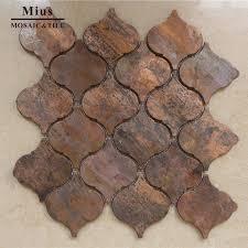 Copper Tiles For Kitchen Backsplash Arabesque Lantern Beacon Copper Tile In Bronze Brushed For Kitchen