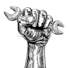 a vintage etched woodcut style fist holding a spanner or wrench