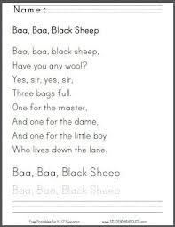 baa baa black sheep printable worksheet for kids student