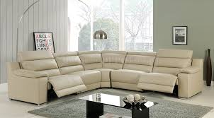 Recliner Sofas Elda Reclining Sectional Sofa In Beige Leather By At Home Usa