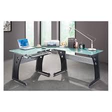 Techni Mobili Graphite Frosted Glass L Shaped Computer Desk Techni Mobili L Shaped Glass Top Computer Desk Graphite