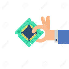 computer processor chip in hand symbol of programmer hard work