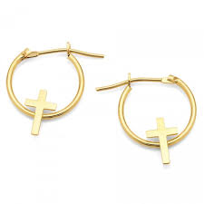 children s hoop earrings yellow gold children s cross hoop earrings