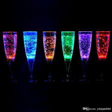 6 8 18cm liquid active plastic led champagne flutes light up led