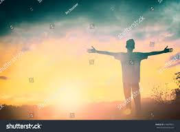 beautiful thanksgiving prayer silhouette man hands rise on beautiful stock photo 614097815