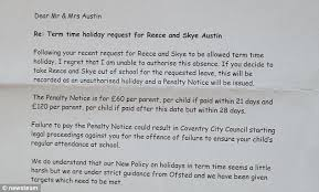 dying coventry is fined for taking his children out of school