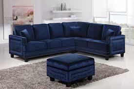 Sectional Sofa With Ottoman Meridian Furniture Ferrara 3pc Modern Navy Velvet Sectional Sofa