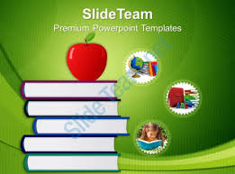 Stack Of Books And Apple Education Powerpoint Templates Ppt Themes Educational Powerpoint Themes