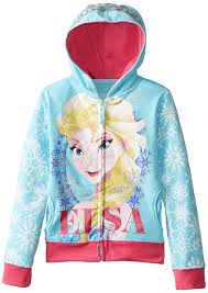 amazon com disney girls u0027 frozen elsa aqua hoodie sweatshirt clothing