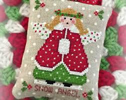 let it snow christmas ornament pdf digital by sugarstitchesdesign