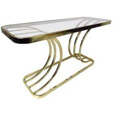 X Base Console Table A Midcentury Curved Brass X Base Console Table With Handles For