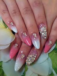 acrylic nail designs with rhinestones pink and white acrylic