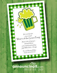 green beer on plaid st patrick u0027s day party invitations