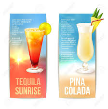 tequila sunrise pina colada cocktails vertical banner set isolated