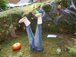 Homemade Outside Halloween Decorations Very Frightening To The Design Of The Body Half Buried In The