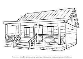 houses drawings learn how to draw a wood cabin houses step by step drawing tutorials