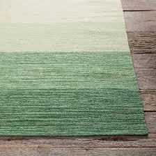 Woven Rugs Cotton India Hand Woven Striped Cotton Area Rug Green Cream 3 U00276