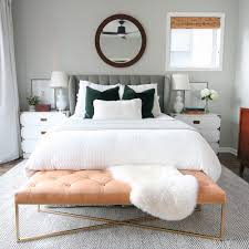 cognac leather bench from article for the master bedroom