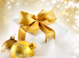 gold christmas background with gift and christmas balls gallery