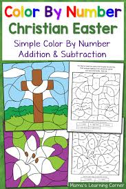 christian easter color by number worksheets mamas learning corner