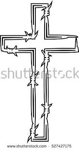 barbed wire cross black white stock vector 527427175