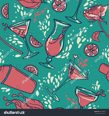 seamless pattern cocktails flowers splashes can stock vector
