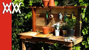 Garden Potting Bench Ideas Make A Rustic Potting Bench Diy Project Using Upcycled Wood And