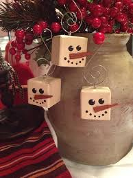 primitive snowman cubed wood christmas ornament on etsy