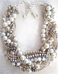chunky pearl statement necklace images Made to order chunky pearl rhinestone necklace white bridal jpg